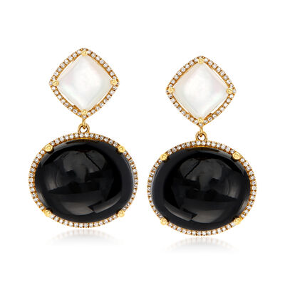 Mother-Of-Pearl, Black Onyx and .54 ct. t.w. Diamond Drop Earrings in 14kt Yellow Gold