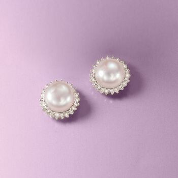 7-7.5mm Cultured Button Pearl and .10 ct. t.w. Diamond Stud Earrings in Sterling Silver, , default
