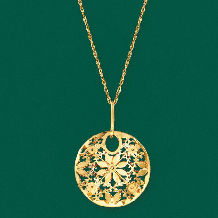 Italian 14kt Yellow Gold Circle Flower Pendant