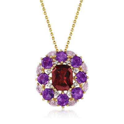 4.10 Carat Garnet and 4.10 ct. t.w. Amethyst Pendant Necklace with Diamond Accents in 14kt Yellow Gold, , default