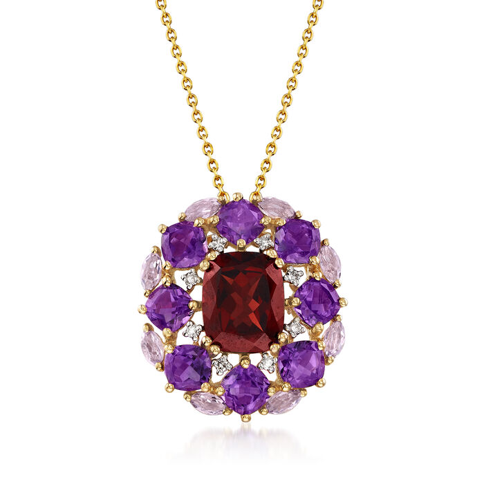 "4.10 Carat Garnet and 4.10 ct. t.w. Amethyst Pendant Necklace with Diamond Accents in 14kt Yellow Gold. 18"", , default"