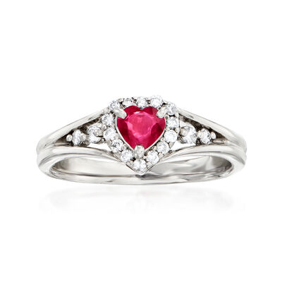 C. 1980 Vintage .40 Carat Ruby and .21 ct. t.w. Diamond Heart Ring in 18kt White Gold