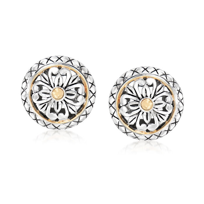 Sterling Silver and 18kt Yellow Gold Floral Earrings