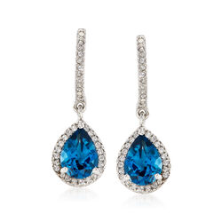 2.70 ct. t.w. London Blue and White Topaz Drop Earrings in Sterling Silver, , default