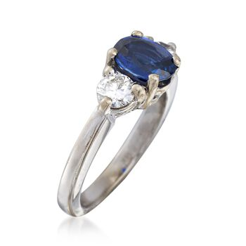 C. 2000 Vintage 1.15 Carat Sapphire and .50 ct. t.w. Diamond Ring in 14kt White Gold. Size 4.75, , default