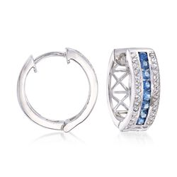 ".60 ct. t.w. Sapphire and .20 ct. t.w. White Zircon Hoop Earrings in Sterling Silver. 5/8"", , default"