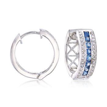 ".60 ct. t.w. Sapphire and .20 ct. t.w. White Zircon Hoop Earrings in Sterling Silver. 5/8"", , default"