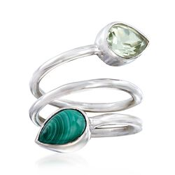Malachite and 2.00 Carat Green Amethyst Coil Ring in Sterling Silver. Size 6, , default