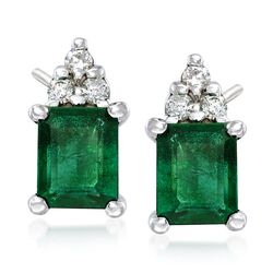 .90 ct. t.w. Emerald Earrings With Diamond Accents in 14kt White Gold , , default