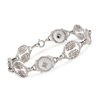 C. 1950 Vintage Rock Crystal and .10 ct. t.w. Diamond Filigree Bracelet in 14kt White Gold, , default