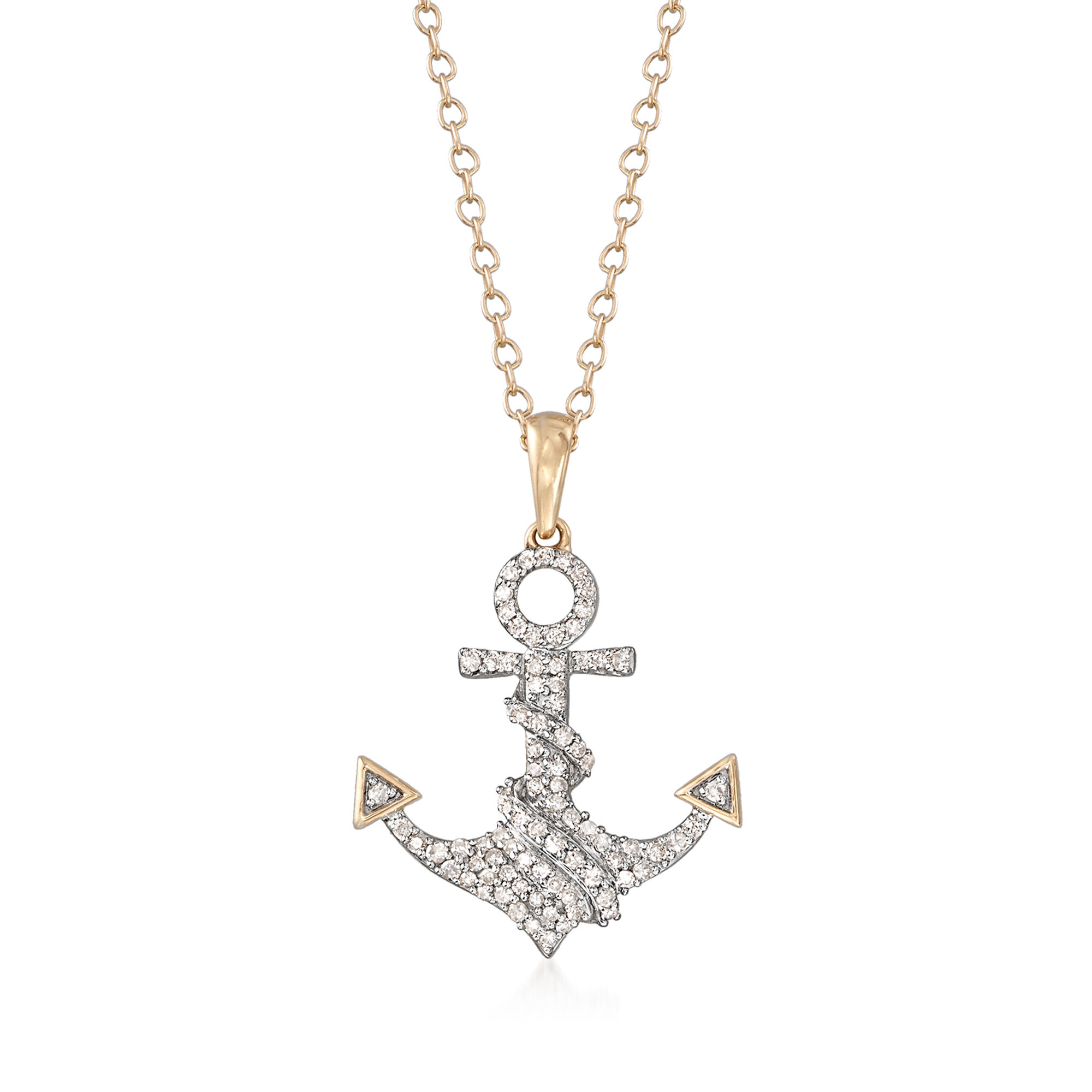 24 Inch Stainless Steel Polished With 14k Gold Diamond Cross Anchor Necklace