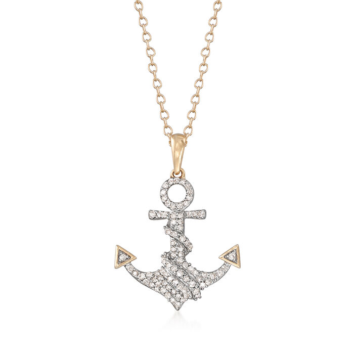 .20 ct. t.w. Diamond Anchor Pendant Necklace in 14kt Yellow Gold
