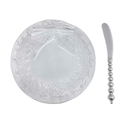 Mariposa Ceramic Wreath Canape Plate with Beaded Spreader, , default