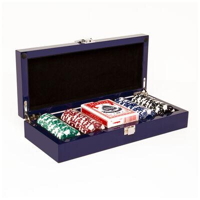 """Brouk & Co. """"Blue Lacquer"""" 100-Chip Poker Set"""