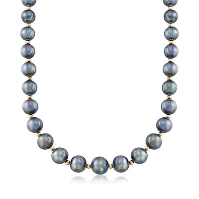 12-15mm Black Cultured Pearl Necklace with 14kt Yellow Gold