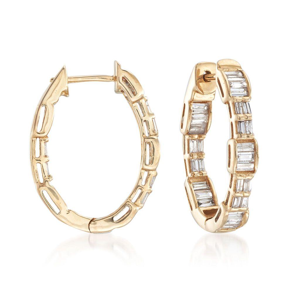 T W Baguette Diamond Hoop Earrings In 14kt Yellow Gold Default