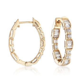 1.00 ct. t.w. Baguette Diamond Hoop Earrings in 14kt Yellow Gold , , default
