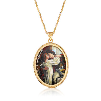 Italian Romeo and Juliet Lava Stone Pendant Necklace in 18kt Gold Over Sterling, , default
