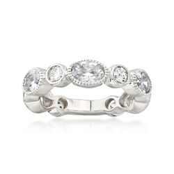 3.96 ct. t.w. Bezel-Set CZ Ring in Sterling Silver, , default