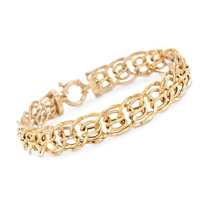 Italian 18kt Yellow Gold Small Multi-Circle Link Bracelet. 7.5""