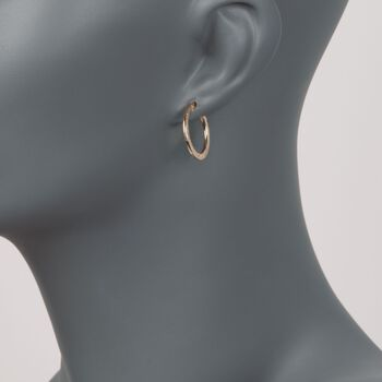 """14kt Yellow Gold Star Patterned and Polished Hoop Earrings. 3/4"""", , default"""
