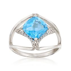 2.40 Carat Blue Topaz and .10 ct. t.w. Diamond Open-Shank Ring in 14kt White Gold, , default