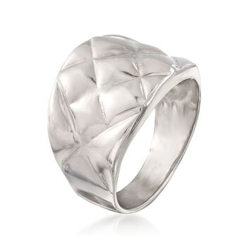 Italian Sterling Silver Quilted-Top Ring, , default