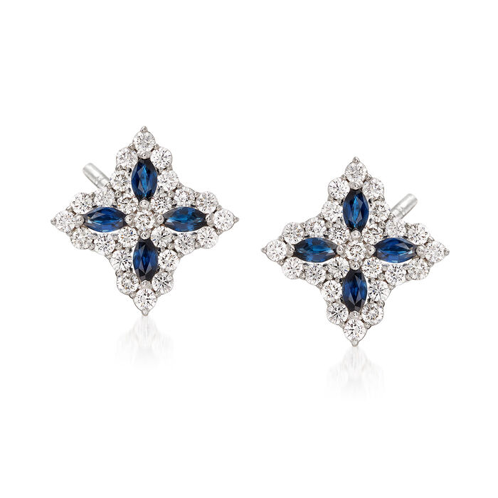 """Roberto Coin """"Princess Flower"""" 1.01 ct. t.w. Diamond and .40 ct. t.w. Sapphire Flower Earrings in 18kt White Gold, , default"""