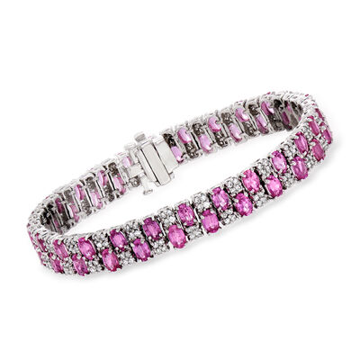 16.00 ct. t.w. Pink Sapphire and 2.15 ct. t.w. Diamond Tennis Bracelet in 14kt White Gold, , default