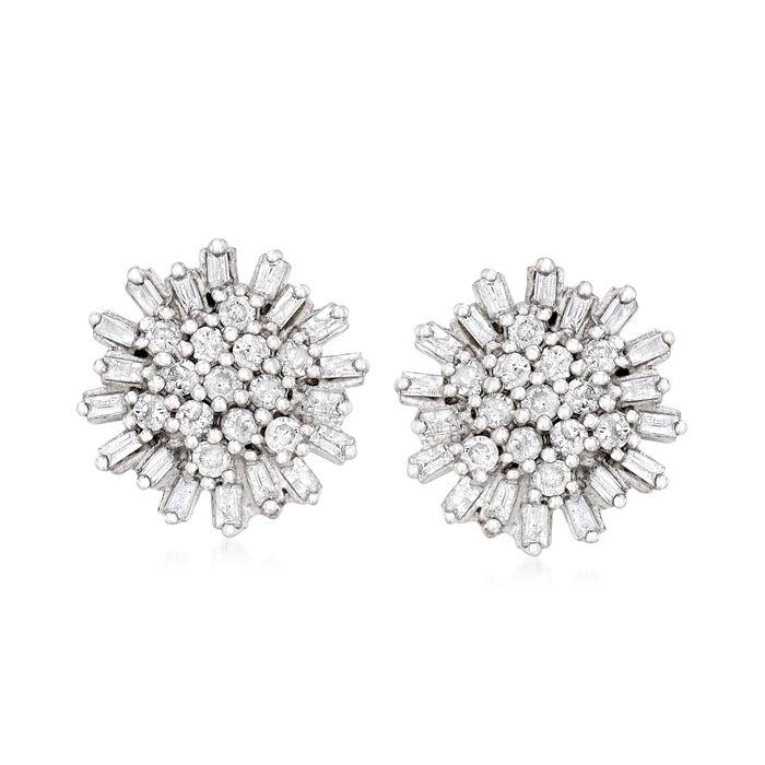.75 ct. t.w. Diamond Cluster Earrings in Sterling Silver