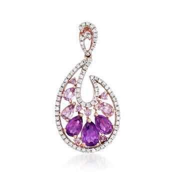 1.92 ct. t.w. Amethyst and .51 ct. t.w. Diamond Frame Pendant in 14kt Rose Gold , , default