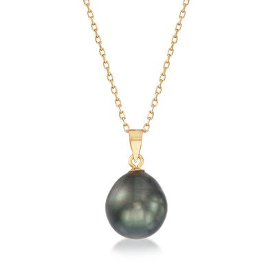 11-12mm Black Baroque Tahitian Pearl Necklace in 14kt Yellow Gold, , default