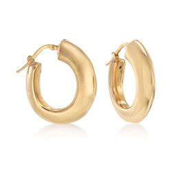 "Italian 18kt Yellow Gold Hoop Earrings. 1"", , default"