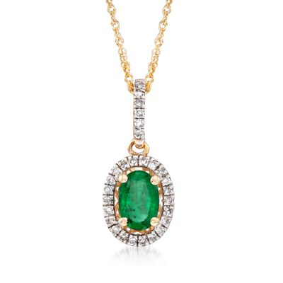 .40 Carat Emerald and .12 ct. t.w. Diamond Pendant Necklace in 14kt Yellow Gold, , default