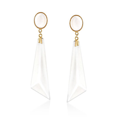 White Agate Drop Earrings in 14kt Yellow Gold, , default