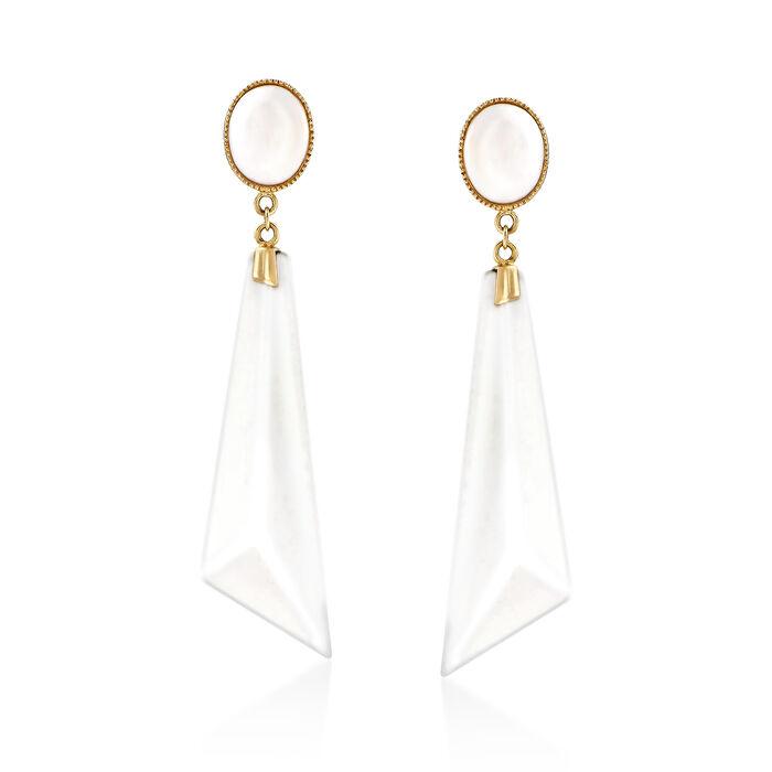White Agate Drop Earrings in 14kt Yellow Gold, , default