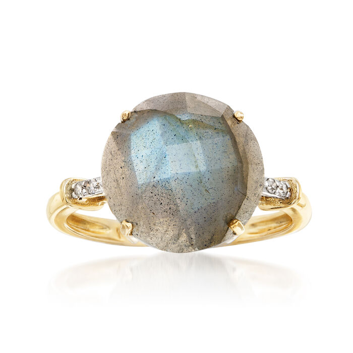 Labradorite Ring with Diamond Accents in 14kt Yellow Gold