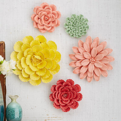 Set of Five Multicolored Porcelain Decorative Floral Garden Wall Sculptures, , default
