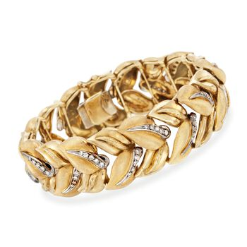 "C. 1990 Vintage 1.50 ct. t.w. Diamond Leaves Bracelet in 18kt Yellow Gold. 7"", , default"