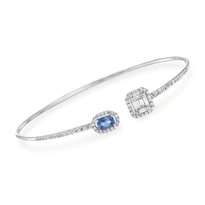 ".60 Carat Sapphire and 1.03 ct. t.w. Diamond Cuff Bracelet in 18kt White Gold. 7.5"", , default"