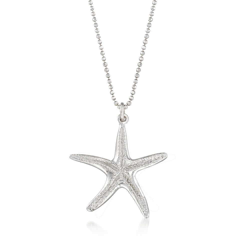 Sterling silver starfish pendant necklace 16 ross simons sterling silver starfish pendant necklace 16quot default aloadofball Choice Image
