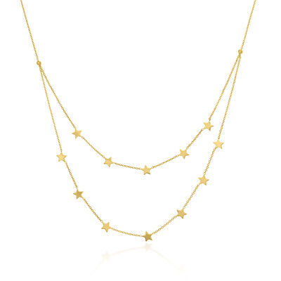 14kt Yellow Gold Double-Strand Star Station Necklace, , default