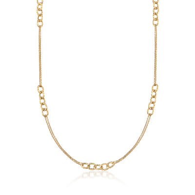 Italian 18kt Yellow Gold Open-Link Necklace, , default