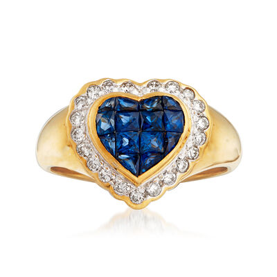 C. 1980 Vintage .75 ct. t.w. Sapphire and .25 ct. t.w. Diamond Heart Ring in 18kt Yellow Gold, , default