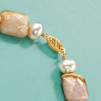 """Pink Opal and 8-9mm Cultured Pearl Necklace With 14kt Yellow Gold. 18.5"""", , default"""