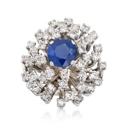 C. 1960 Vintage 1.78 Carat Sapphire and 1.75 ct. t.w. Diamond Cluster Ring in 14kt White Gold. Size 5, , default