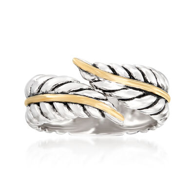 Sterling Silver and 14kt Yellow Gold Leaf Bypass Ring
