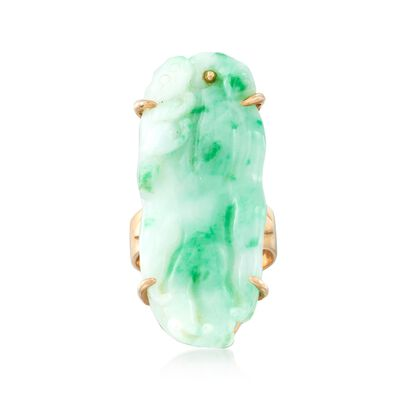 C. 1960 Vintage Carved Jade Bird Ring in 14kt Yellow Gold, , default
