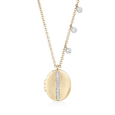 .13 ct. t.w. Diamond Oval Locket in 14kt Yellow Gold, , default
