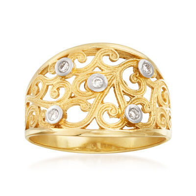 14kt Yellow Gold Scroll Ring with Diamond Accents, , default